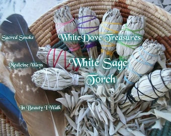 "WHITE Sage Smudge Stick ~ Torch Bundle 4.5"" Gift Wrap Choice Color Instructions 1-24 Bulk ~ House Blessing ~ Organic Herb ~ Aura Clear"