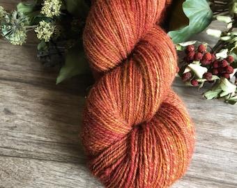 Rowanberry - Handspun Yarn, Handcarded Wool, Navajo Ply Yarn, Threeplied Yarn