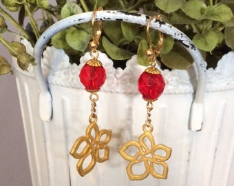 Red and Gold Flower Dangle Earrings; Red Drop Earrings; Flower Drop Earrings; Red and Gold Dangle Earrings; Flower Earrings; Flower Dangle