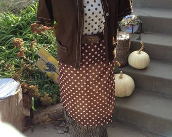 Vintage kitsch 60s Serbin of Florida designed by Muriel Ryan brown and white polka dot dress with matchy jacket and belt size 12