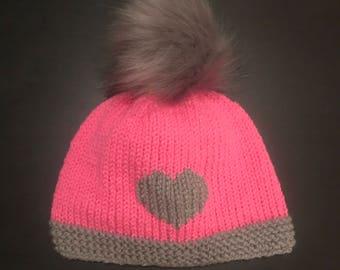 Hand-Knit Heart Hat with Faux Fur Pom Pom