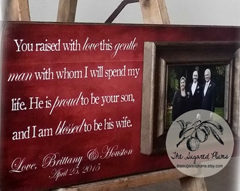 Thank You Gift For Mom and Dad, Mother of the Groom, Father of the Groom, Parent Wedding Gift, You Raised With Love 8x20