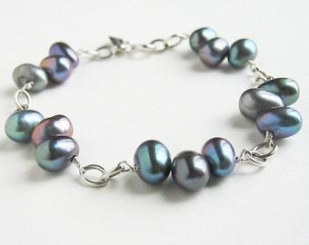 Blue Green Pearl Bracelet. Peacock Pearl Bracelet in Sterling Silver. Aziza Jewelry