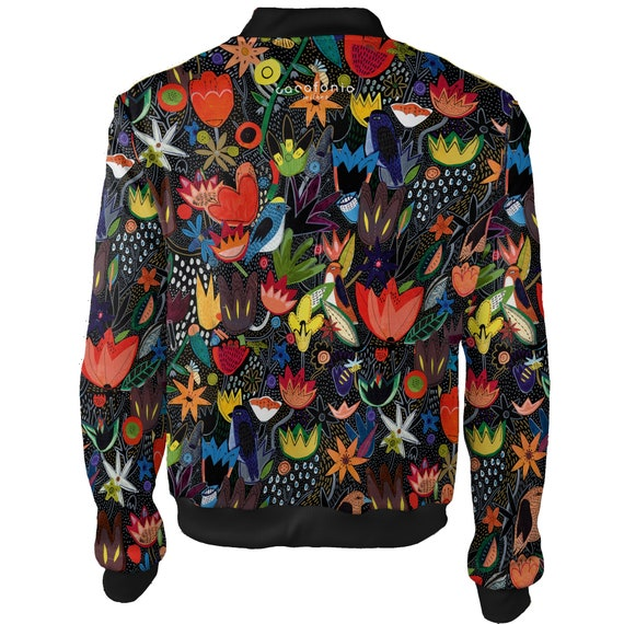 front flowers women JACKET women BOMBER 4xl festival Jungle vintage men zip black rave design Hippie men unique autumn bohemian Colorful RCnTdw