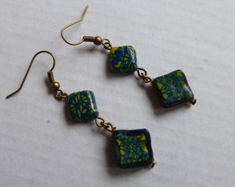 Earrings dangle blue yellow flowers