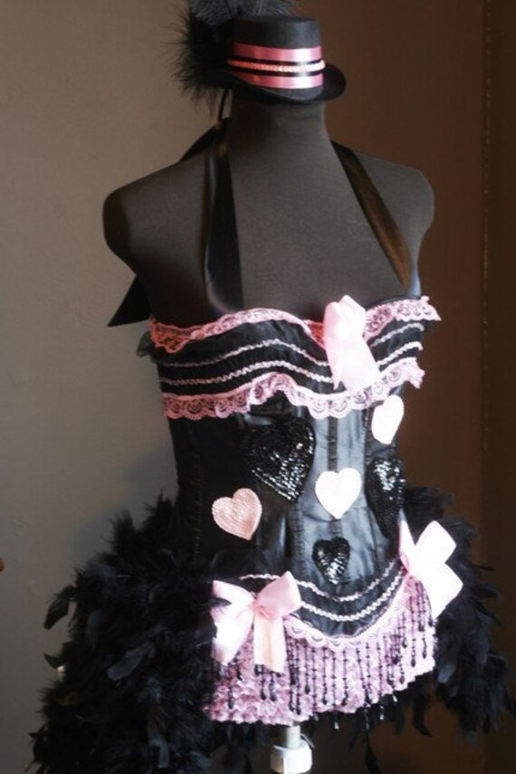 PINKY Circus Corset Burlesque Cosplay Costume Halloween prom sexy feather dress
