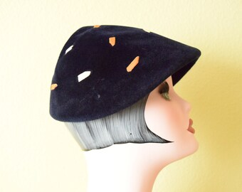 1940's Navy Blue Velour  Pixie Fascinator |  Ribbon Embroidered Mini Hat | The Emporium