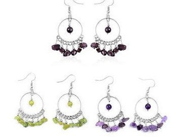 Gypsy Style Genuine Gemstone Earrings in Amethyst, Garnet or Peridot