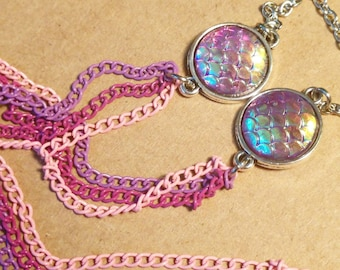 Iridescent Mermaid Scale Necklace - Pink Necklace - Purple Necklace - Mermaid Necklace