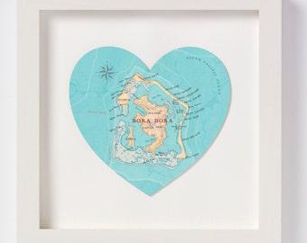 Bora Bora Map heart Print - framed wedding gift - personalised anniversary gift - honeymoon destination gift