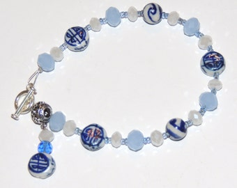 Blue Chinese Bracelet, Dangle Blue and White Glass Bead Bracelet, Blue Zen Bracelet, Chinese Bracelet, Blue Glass Bead Bracelet