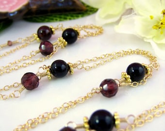 Red Garnet Opera Length Rosary Necklace - Burgundy Red Antique Rosary Necklace - Gypsy style bohemian red rosary gold filled necklace