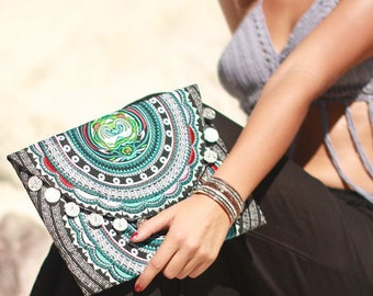 Ethnic Embroidered Clutch Bag with Silver Coins- Ready To Ship