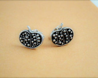 Pumpkin earrings. Pumpkin studs. Fall jewelry. Halloween earrings. Harvest earrings.