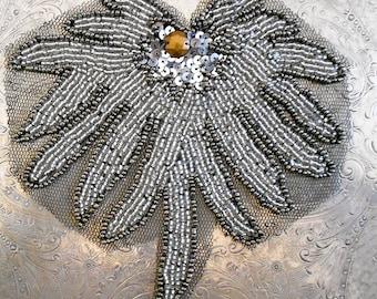 Gunmetal Gray Silver Beaded Floral Applique