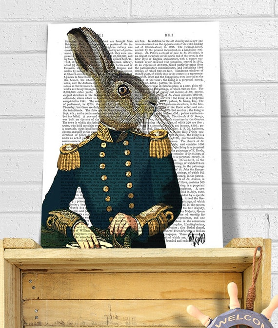 Lieutenant Hare : Military Print Rabbit Print Wall Art Wall