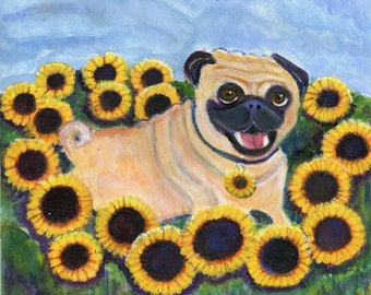 """Pug art, greeting card, fawn pug surrounded by sunflowers, """"Sunflower Pug"""""""