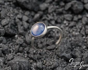 Handmade denim blue Kyanite ring, sterling silver, 10mm gemstone cabochon, blue ring