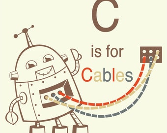Alphabet-Kunstdruck - Roboter Kunst, Buchstabe C Kunst, Roboter Kinderzimmer Dekor, Baby Boy Geschenk Kind Wandkunst, Alphabet Kunst, Unterricht Kunst, pädagogische