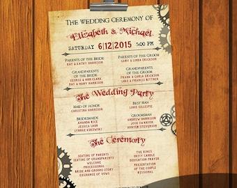 Steampunk Wedding Program / Wedding Ceremony / Order of Wedding / Brown / Maroon / Wedding / Program