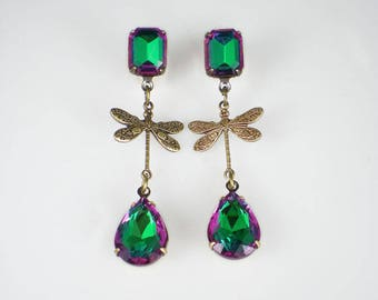 Dragonfly Earrings, Pink Green Rhinestone Earrings, Watermelon Rhinestones, Insect Jewelry, Gift For Her, Statement Earrings