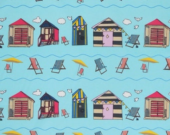 Beach Huts on Blue Cotton Fabric, Blue Seaside Cotton Poplin Fabric with Beach Huts and Deck Chairs
