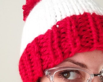 Chunky Knit Hat with Pom