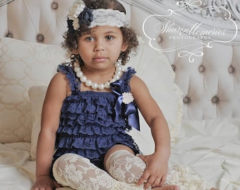 Navy Girl Lace Romper Set - Baby Romper - Lace Petti Romper - Petti Lace Romper - 1st Birthday Outfit - Baby Lace Romper - Newborn Romper