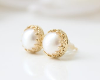 Pearl stud earrings • Romantic gold stud earrings set with freshwater pearls • Gifts for her