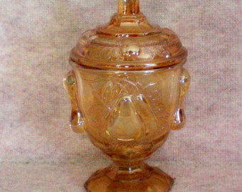 Jeanette Glass Baltimore Pear Covered Compote or Candy Jar - 4059