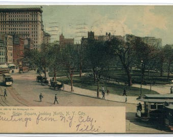 Union Square Looking North New York City NYC NY 1906 postcard
