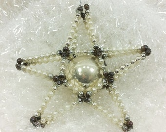 Mercury Glass Star Ornament, 1950s Beaded Star in Silver and White