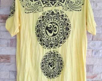 Size L // Mandala Ohm Buddha T-Shirt Soft Comfy Preshrunk Cotton Boho Yellow T-Shirt