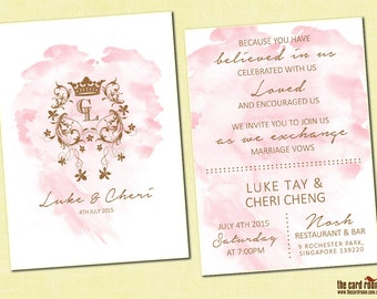 Pink & Gold Watercolour + royal monogram wedding invite - Printables