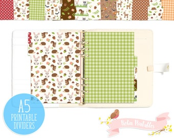 Forest Animals Printable Planner Divider Tabs /Woodland Dashboard fits any A5 Organizer like KikkiK or Filofax. Personal Use PDF