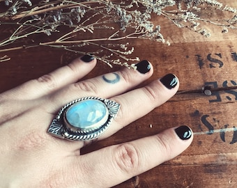 Moonstone Sterling Silver Ring Size 9.5 - Moonstone -  Handmade - Gypsy - Sterling Ring - Boho Jewelry -MetalSmith Jewelry