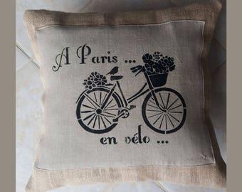 """""""BIKE PARIS"""" PILLOW IN BURLAP"""