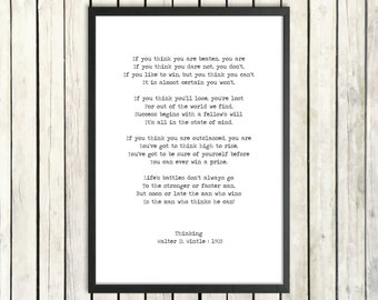 Walter D. Wintle Printable Download Poem 'Thinking' Instant Digital Print Graduation Gift 'The Man Who Thinks He Can' Office Inspiration Art