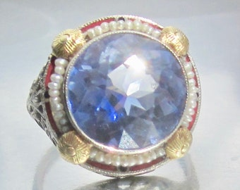 Antique Art Deco Synthetic Sapphire Seed Pearl Border Engagement Ring 14K. Flapper Ring