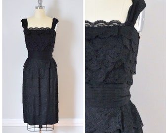 Vintage Dress / 50s Vintage Dress / 50s Dress / Lace Dress / Evening Dress / Party Dress / Black / 50s Wiggle Dress / Mad Men / Extra Small