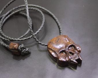 Wooden pendant: Walnut burl skull pendant