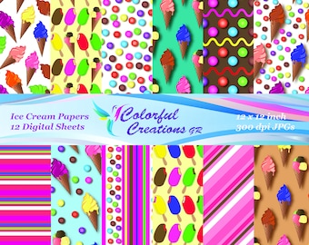 Ice Cream Set Digital Papers, Ice Creams, Stripes, Candies, Scrapbook Paper, Party Printable, Decoupage, Personal And Commercial Use