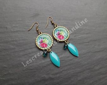"""drop enamel earrings """"butterfly"""" and turquoise Czech glass beads"""