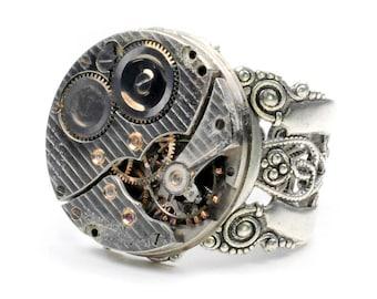 Antique 1936 Hamilton Watch Movement Steampunk Ring