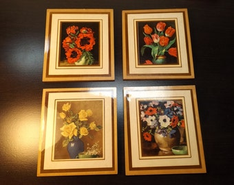 Lot of 4 pictures,wall hangings, set small laminated prints.Floral.Mini pictures.Dall house pictures.Dall house wall hanging.Home decor.
