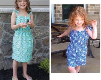 "Quick and Easy Girls Summer ""Fun"" Sun Dress PDF pattern, Sizes 3-12"