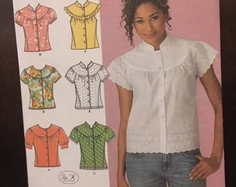 Simplicity #4122 - Misses' Blouse with Sleeve and Trim Variations - Size R5 (14,16,18,20,22) - Paper Pattern
