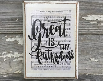 Great is thy Faithfulness - Hymn wall art - Hymn Board - hand lettered wood sign - Imperfect Dust