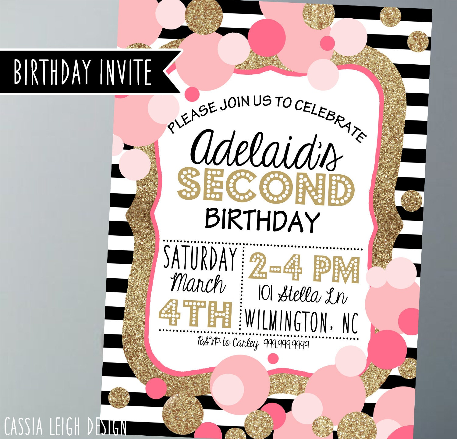 Printable Birthday Party Invitations Gold pink black and