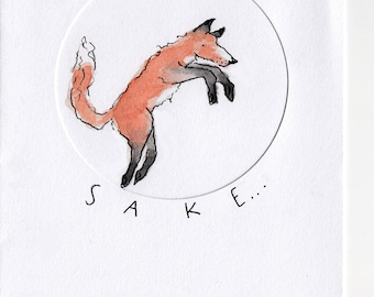 Handmade Fox Greetings Card